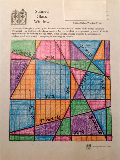 Stained Glass Window Worksheet stained glass math activity linear equations project