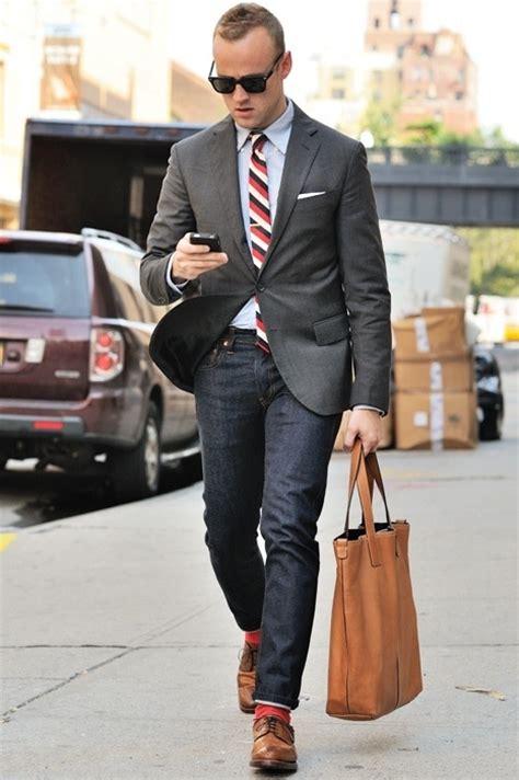 Style Ideas How To Wear Menswear Herringbone Second City Style Fashion by S Charcoal Blazer Grey Dress Shirt Navy Brown