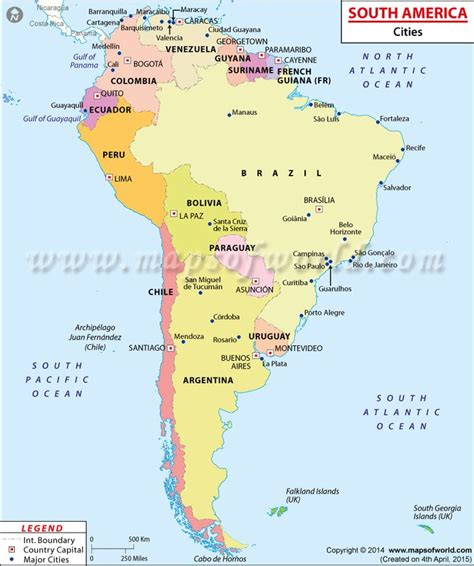 map of south america cities map showing major cities in southamerica maps globes