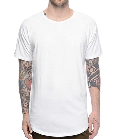T Shirt 04 fairplay 04 scallop side split white elongated t shirt
