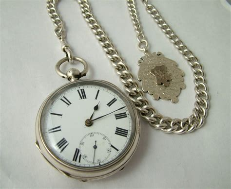 antique silver pocket chain and fob