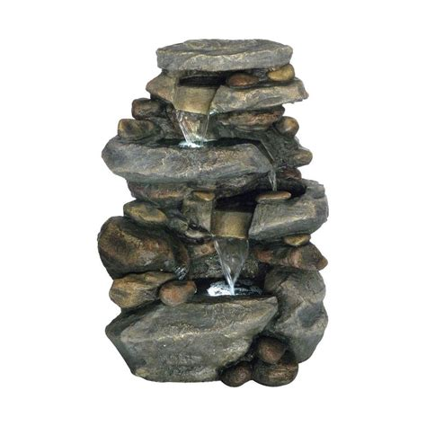 stone waterfalls backyard pure garden 25 5 in stone waterfall fountain with led lights 50 0006 the home depot