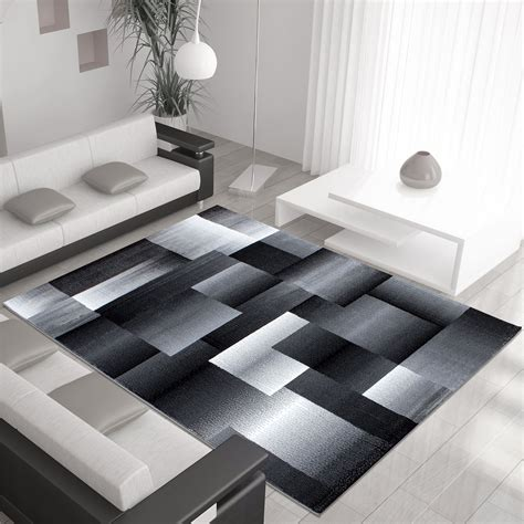 Modern Large Rugs Modern Contemporary Squares Swirls Black Beige Grey Large Rugs Ebay