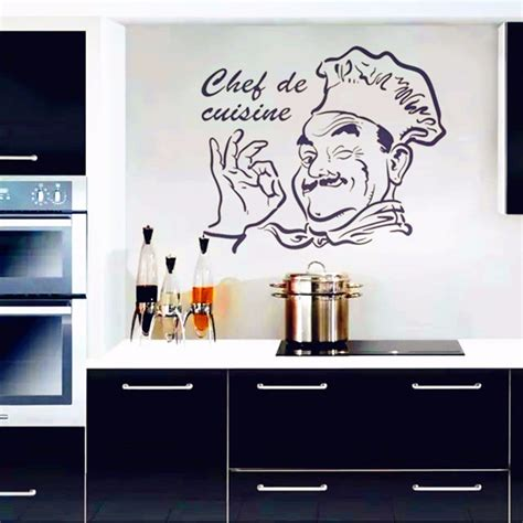 kitchen wall stickers decor kitchen wall stickers chef de cuisine removable wall decals vinyl wall home decor stikers