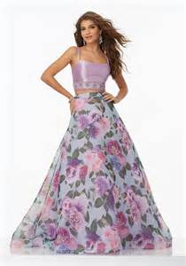 Floral Prom Dresses Two Prom Dress With Floral Organza Skirt Style