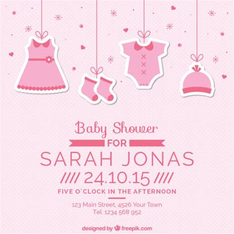 Baby Shower Clothes by Pink Baby Shower Card With Hanging Clothes Vector