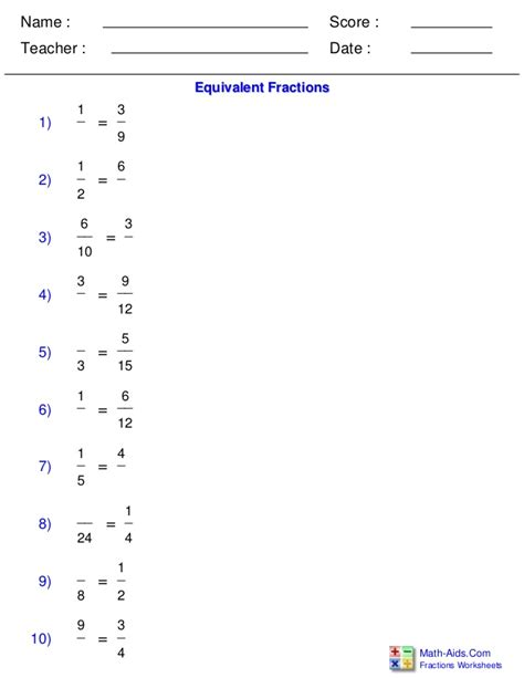 Math Aids Fractions Worksheets