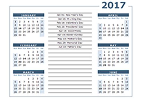 Calendar 6 Months On One Page 2017 Yearly Calendar Templates Free Printable