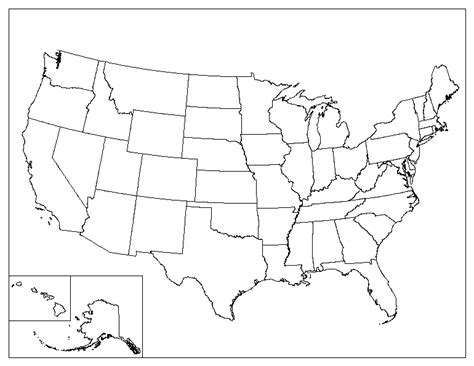 printable us state map blank printable blank map of the united states