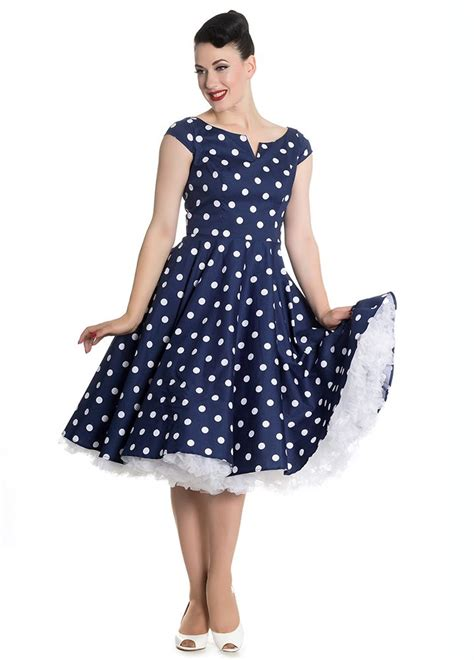 1950s polka dot swing dress gorgeous retro 1950s style navy polka dot swing dress