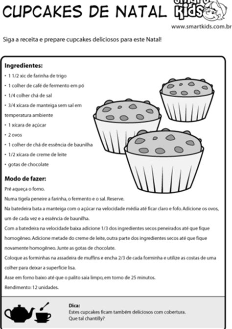 Atividade Natal Receita Cupcakes - Atividades - Smartkids