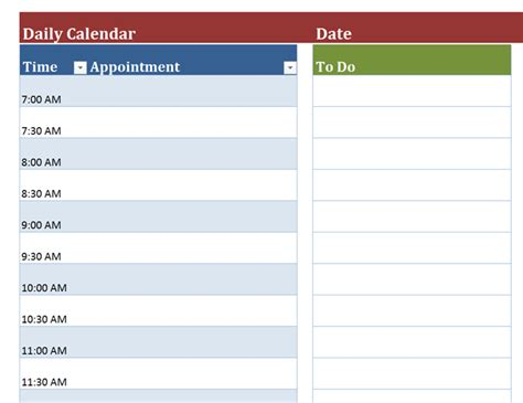 blank daily calendar office templates