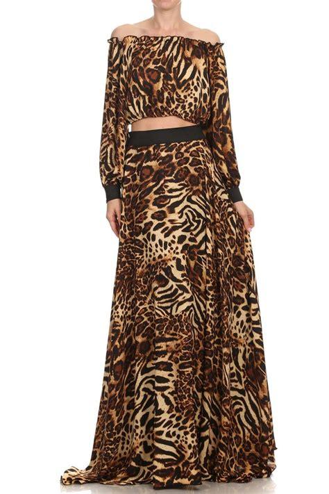 leopard maxi flow skirt set kaftan