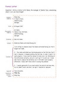 formal letter format exles exercises