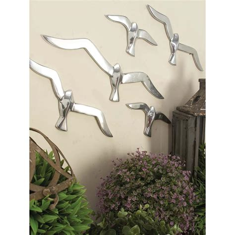 Decorative Silver P 8 4 in x 16 in silver finish flock of birds wall decor in polished aluminum 7 set 22177 the
