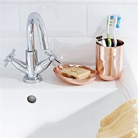 Modern Copper Bathroom Accessories White Bathroom Sink With Copper Accessories Housetohome