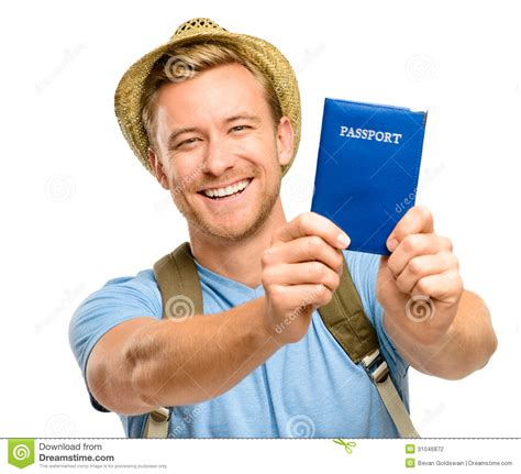 man holding happy young tourist travel passport isolated white