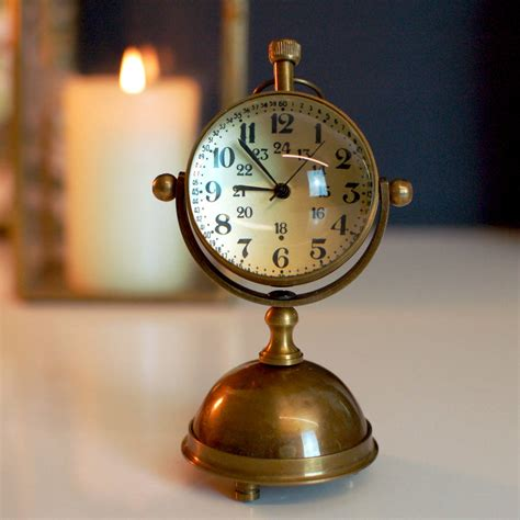 vintage antique round brass gold desk clock by made with