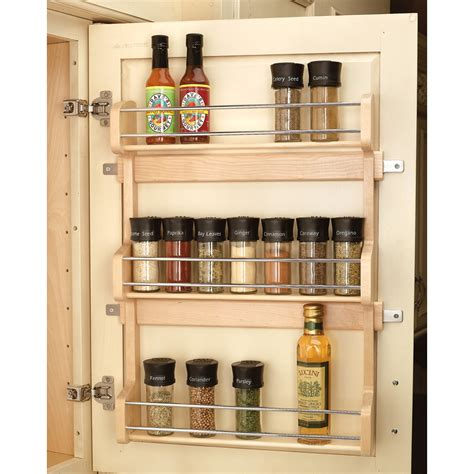 kitchen cabinet spice organizers shop rev a shelf wood in cabinet spice rack at lowes com