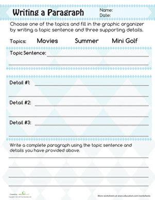 writing a paragraph worksheet writing a paragraph worksheet education