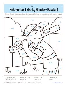 subtraction color by number subtraction color by number baseball kindergarten 1st