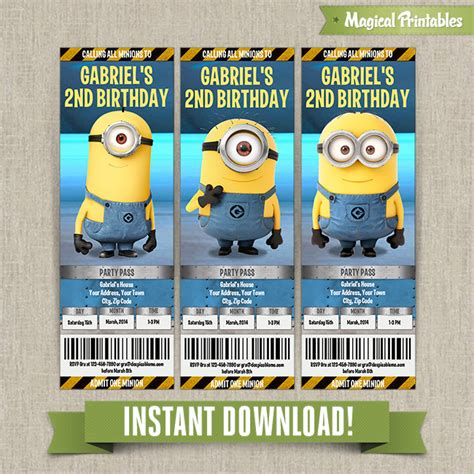 11 piece birthday party printable set instant download despicable me minions birthday ticket invitations lab set