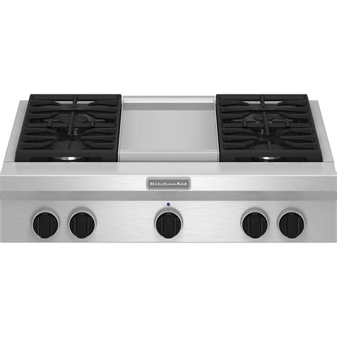 Electric Cooktops With Griddle kitchenaid kgcu463vss pro style 174 36 quot gas cooktop plus griddle sears outlet