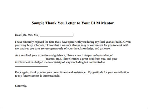 Acceptance Letter For Mentoring Program Sle Thank You Letter Template 16 Free Documents In Pdf Word