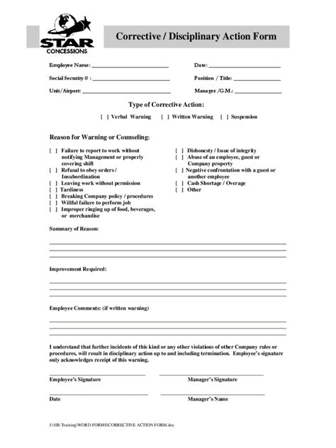 corrective form template employee corrective form 2 free templates in pdf