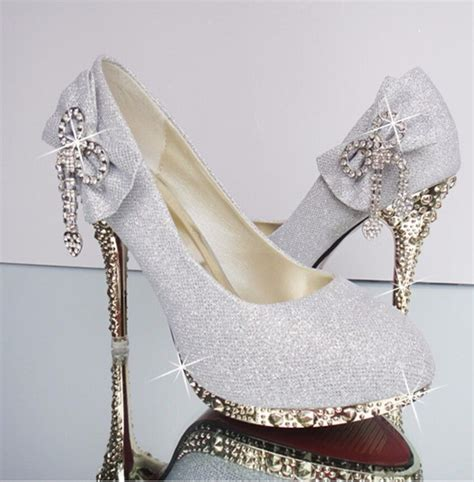 rhinestone high heel shoes bow rhinestone high heel toe bling wedding