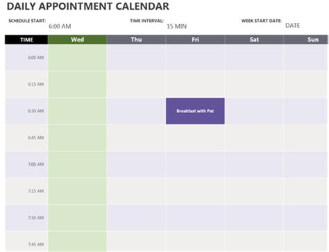 Daily Appointment Calendar Daily Appointment Template