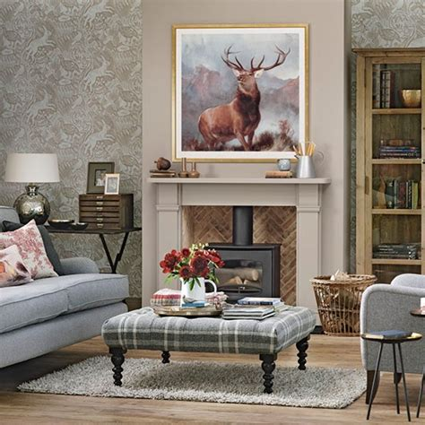Stag Room traditional living room with stag print heritage room