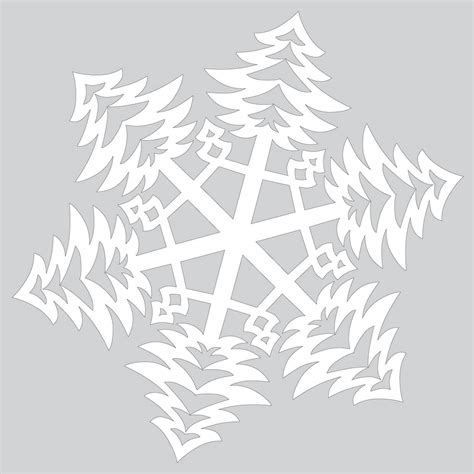 Paper Snowflake With Bushy Christmas Trees Pattern Cut Out Template Free Printable Papercraft Paper Cut Out Templates
