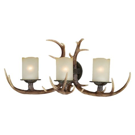 Rustic Lamps: Antler Triple Wall Lamp Black Forest Decor