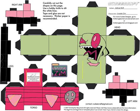 Gir Papercraft - zim invader zim cubee by theflyingdachshund on deviantart