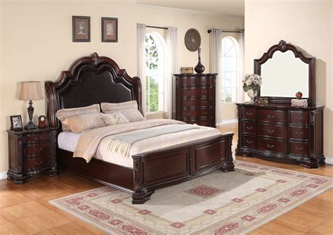 crown mark furniture sheffield upholstered bedroom set  dark cherry