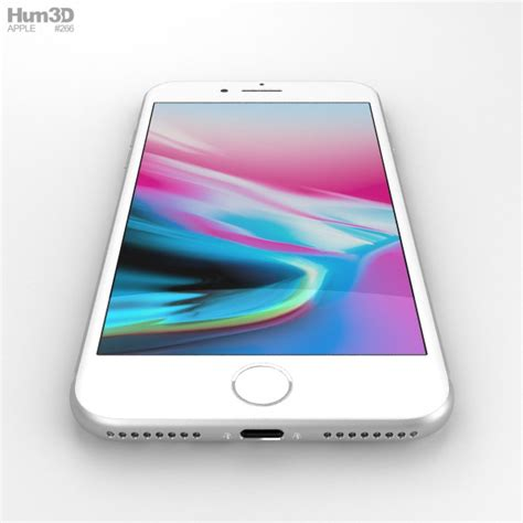 apple iphone 8 plus silver 3d model hum3d