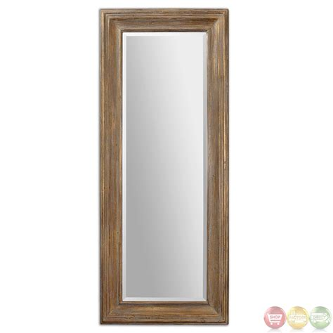 Floor Mirror by Filiano Traditional Distressed Gold Leaf Large Floor