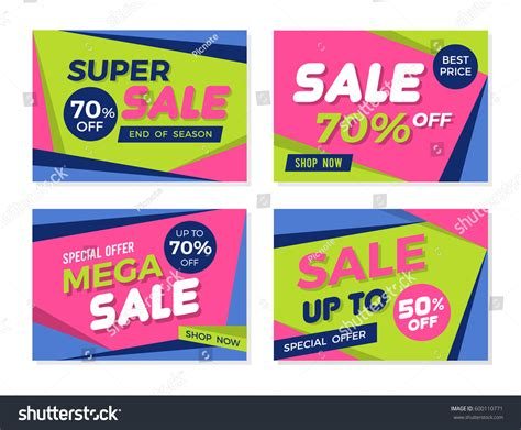 set colorful trendy sale banners promotion stock vector 600110771