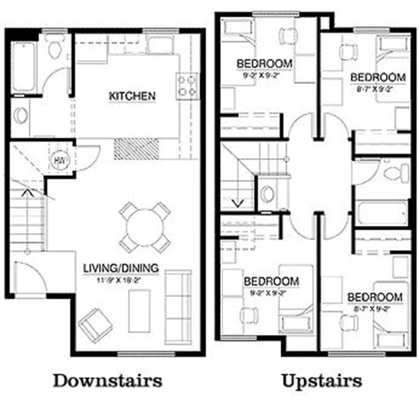 4 bedroom townhomes 108 best images about house floor plans on pinterest