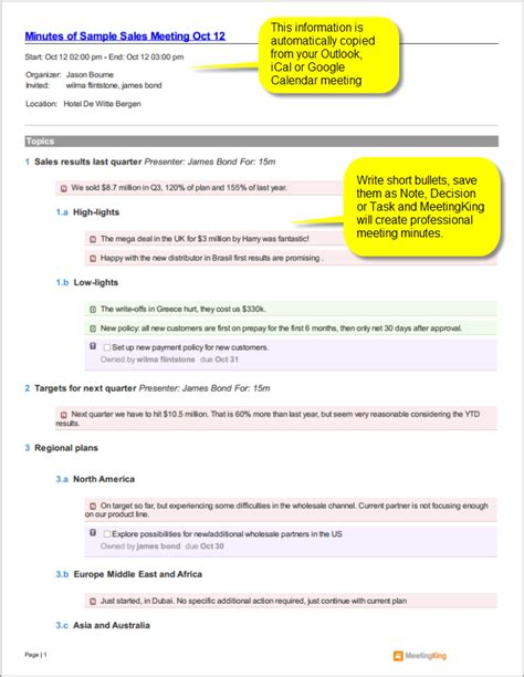 minutes sle template minutes of meeting format sles pdf