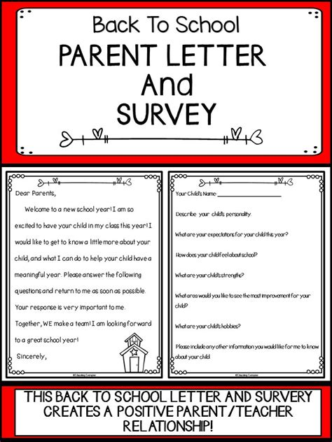 Kindergarten Parent Letter Beginning Year 25 Best Ideas About Parent Survey On 1st Year Teachers Open House Forms And Parent
