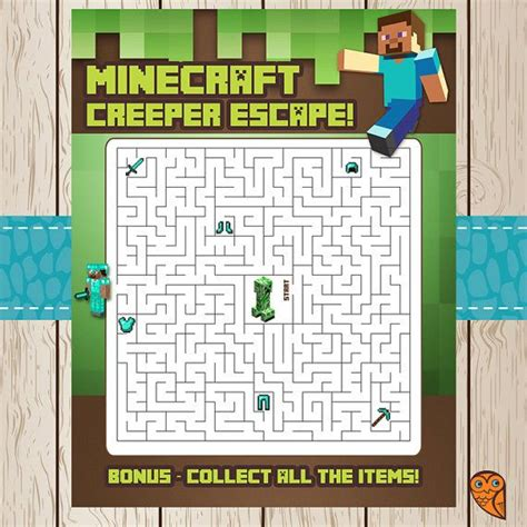 printable minecraft word search games printable minecraft maze game creeper escape by