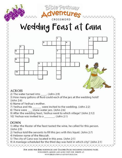 Wedding At Cana Bible by Bible Crossword Puzzle Wedding Feast At Cana Free