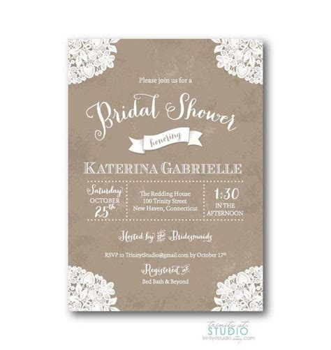 vintage lace rustic bridal shower invitation shabby chic