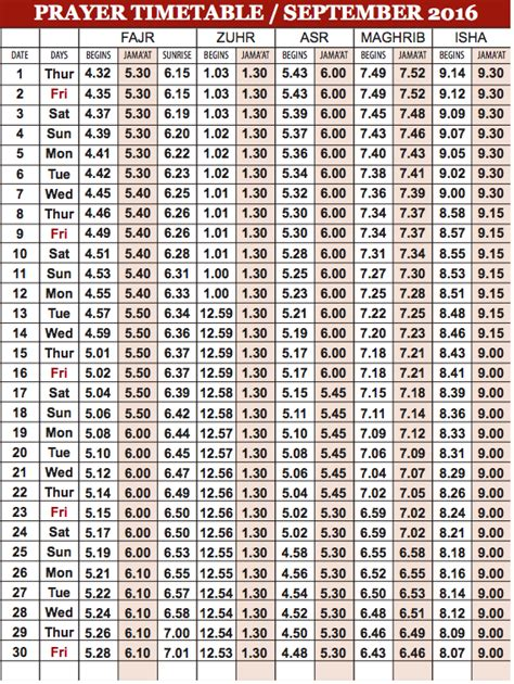 camberley mosque prayer timetable