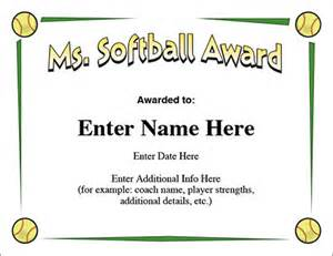 Free Softball Certificate Templates by Ms Softball Award Certificate Template Fast Pitch And