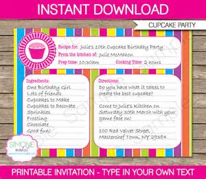 Cupcake Invitations Template by Cupcake Invitations Template Recipe Card Invitations