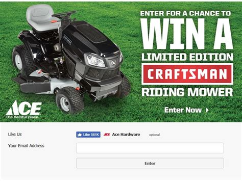 ace hardware craftsman riding mower sweepstakes - Ace Hardware Sweepstakes 2017