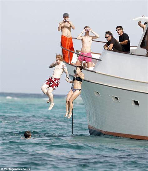ed on a boat ed sheeran enjoys luxury yacht vacation with new